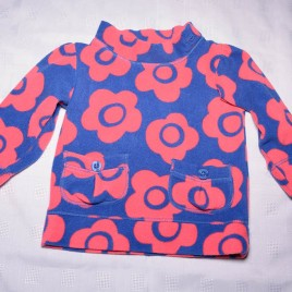 Navy & pink flowers fleece jumper 12-18 months