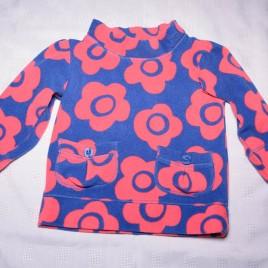 Navy & pink flowers fleece jumper 12-18 months