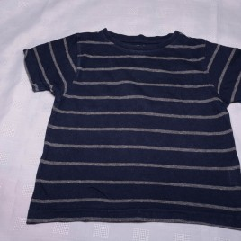 Navy & grey striped t-shirt 2-3 years