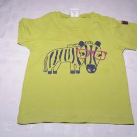 Polarn O pyret green zebra t-shirt 9-12 months