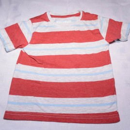 Red, blue & grey stripy t-shirt 18-24 months