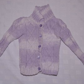 Purple & White hand knitted cardigan 6-12 months
