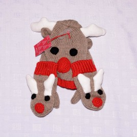 New John Lewis Christmas reindeer hat & mittens glove set 2-3 years