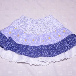 Blue, yellow & white flowers gypsy skirt 12-18 months