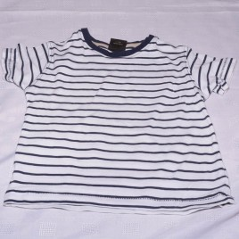 Next white & navy stripy t-shirt 2-3 years