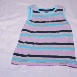 Purple, blue & grey stripy vest top 12-18 months