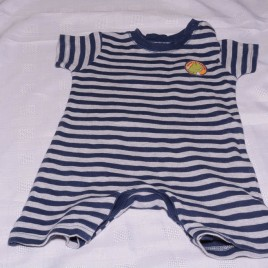 Navy & grey  stripy romper 3-6 months