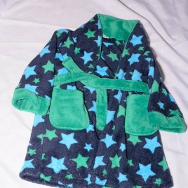 Navy & green stars dressing gown 2-3 years