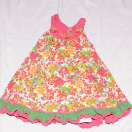 Pink flowers summer dress 4-5 years