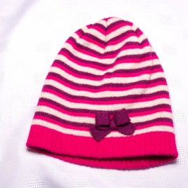 1-2 years pink stripy hat