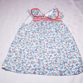 Baby Boden t-shirt blue & white with flowers 18-24 months