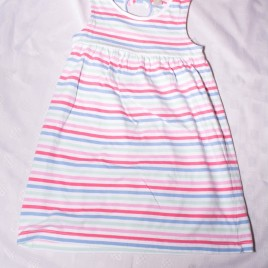 Blue, mint & pink striped dress 3-4 years