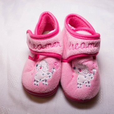 Pink dog slippers size 6