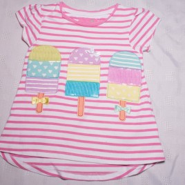 Pink stripy ice lolly t-shirt 2-3 years