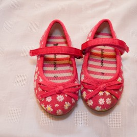John Lewis pink flowered canvas shoes size 6