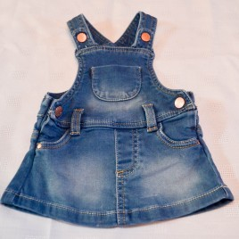 Soft denim pinafore 0-3 months