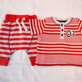 Red stripy top & trousers outfit 1 month