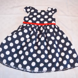 Navy spotty party dress 2-3 years