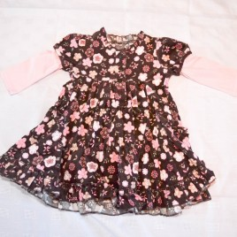 Brown flowers dress 6-9 months