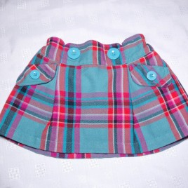 Next red & turquoise tartan skirt 9-12 months