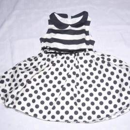 White & black spotty prom dress 5 years