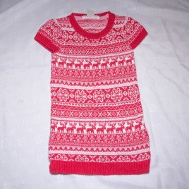 H&M red knitted Christmas dress 2-4 years