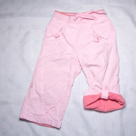 Next pink cargo roll leg trousers 9-12 months