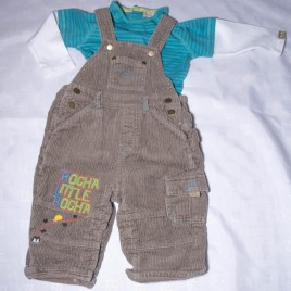 Rocha Little Rocha brown cord dungarees & top outfit  6-9 months