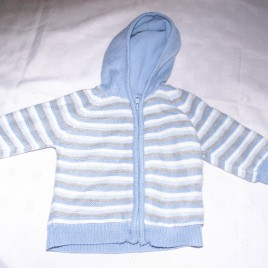 Blue, white & grey hooded striped cardigan 6-9 months