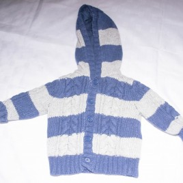 Navy & grey striped hooded cardigan 6-9 months