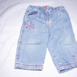 Jeans with flowers 6-9 months