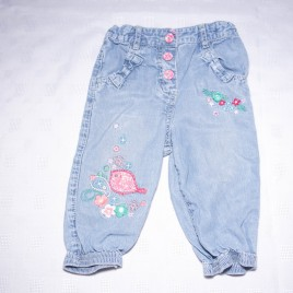 M&S embroidered bird jeans 6-9 months