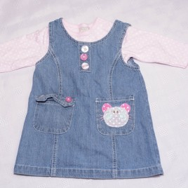 Cat denim pinafore & bodysuit outfit 3-6 months