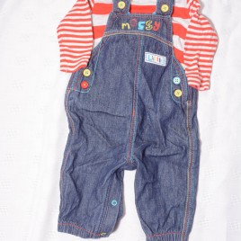 Long sleeve bodysuit & dungaree outfit 3-6 months
