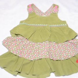 Next green cord pinafore dress 9-12 months