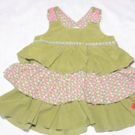 Next green cord pinafore dress 9-12 months