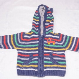 Multi coloured striped hoodie cardigan 9-12 months