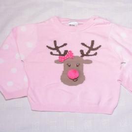 Pink reindeer jumper 9-12 months Christmas
