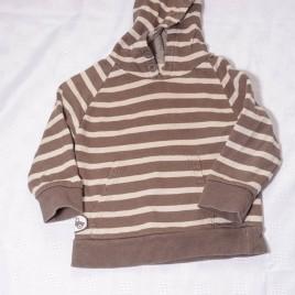 Brown stripy hoodie jumper 12-18 months