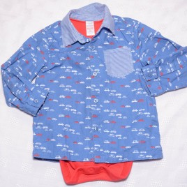 MiniClub car shirt with built in bodysuit 12-18 months