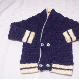 Navy & cream hand knitted cardigan 18-24 months