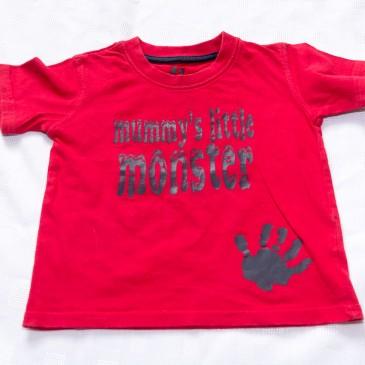 Red 'Mummy's little monster'  t-shirt 12-18 months
