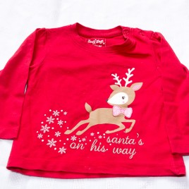 'Santas on his way' reindeer top 9-12 months