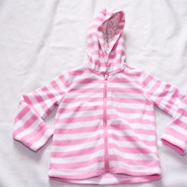 Pink & white stripy fleece hoodie cardigan 2-3 years