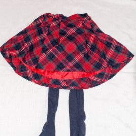 Red & navy tartan skirt with tights 2-3 years