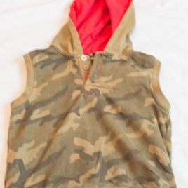 Khaki hooded shirt sleeved jumper 12-18 months
