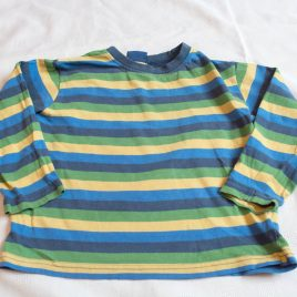 Blue, yellow & green stripy top 3-4 years