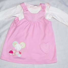 Pink pinafore & bodysuit 3-6 months