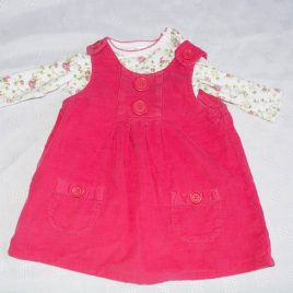 Next dark pink pinafore & flowers bodysuit 3-6 months