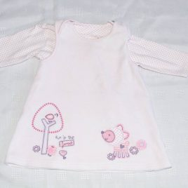 M&S pink pinafore & top outfit 3-6 months